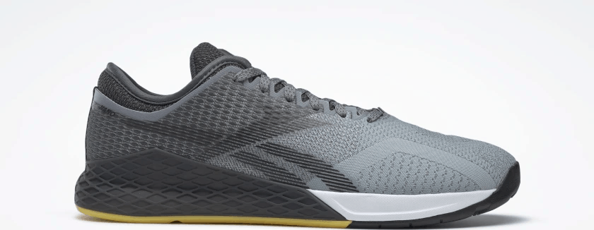 Upper closeup of the Reebok Nano 9 Beast Men's CrossFit Training Shoe with Jacquard Upper - Cold Grey 4 / Cold Grey 7 / Toxic Yellow