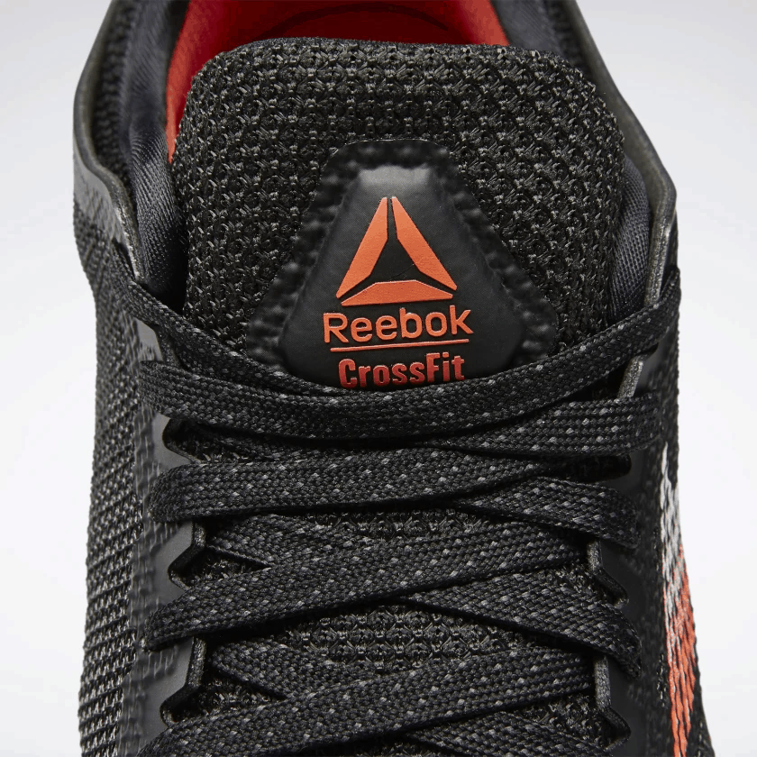 Tongue and laces of the Reebok Nano 9 Men's CrossFit Training Shoe in Black/White/Vivid Orange