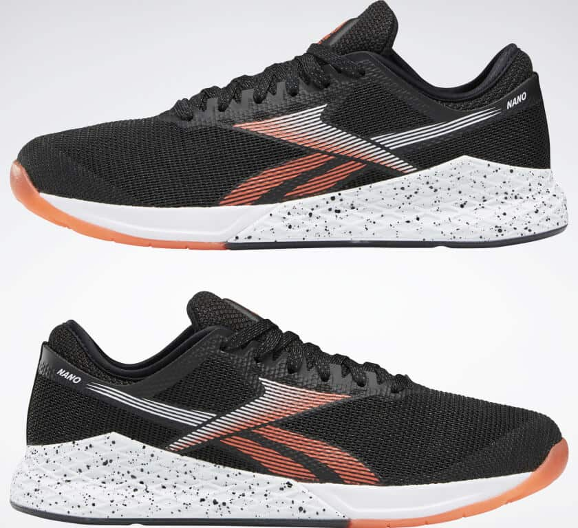 Left and right view of the Reebok Nano 9 Men's CrossFit Training Shoe in Black/White/Vivid Orange