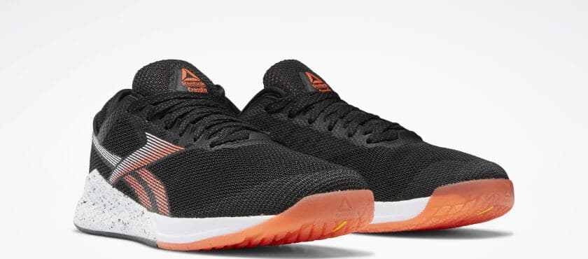 Quarter view of the Reebok Nano 9 Men's CrossFit Training Shoe in Black/White/Vivid Orange