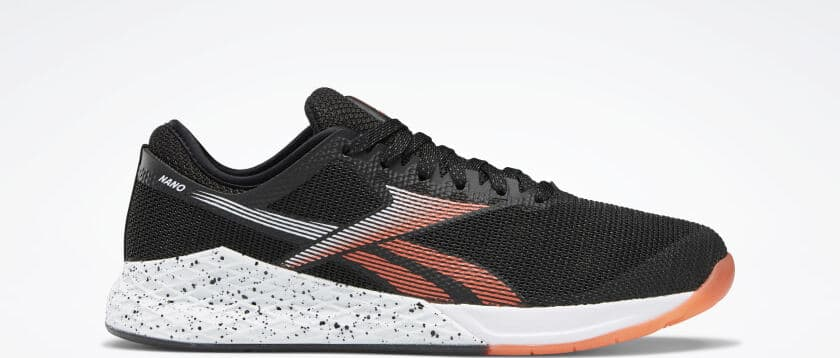 Side view of the Reebok Nano 9 Men's CrossFit Training Shoe in Black/White/Vivid Orange