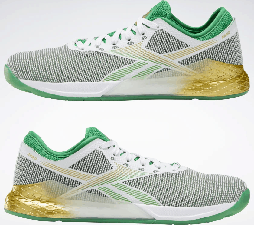 Reebok Nano 9 Men's Cross Training Shoe for CrossFit in White / Matte Gold / Pure Grey 2