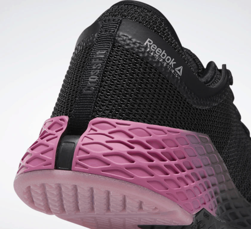 Heel closeup of the Reebok Nano 9 Men's CrossFit Training Shoe in BLACK / COLD GREY 7 / POSH PINK