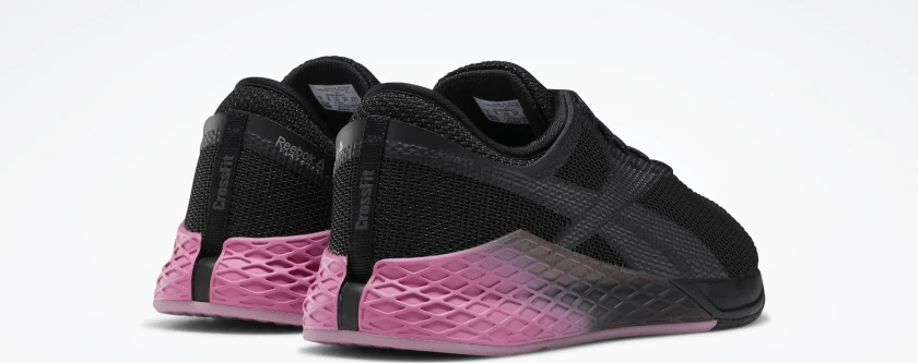 Heel view of the Reebok Nano 9 Men's CrossFit Training Shoe in BLACK / COLD GREY 7 / POSH PINK
