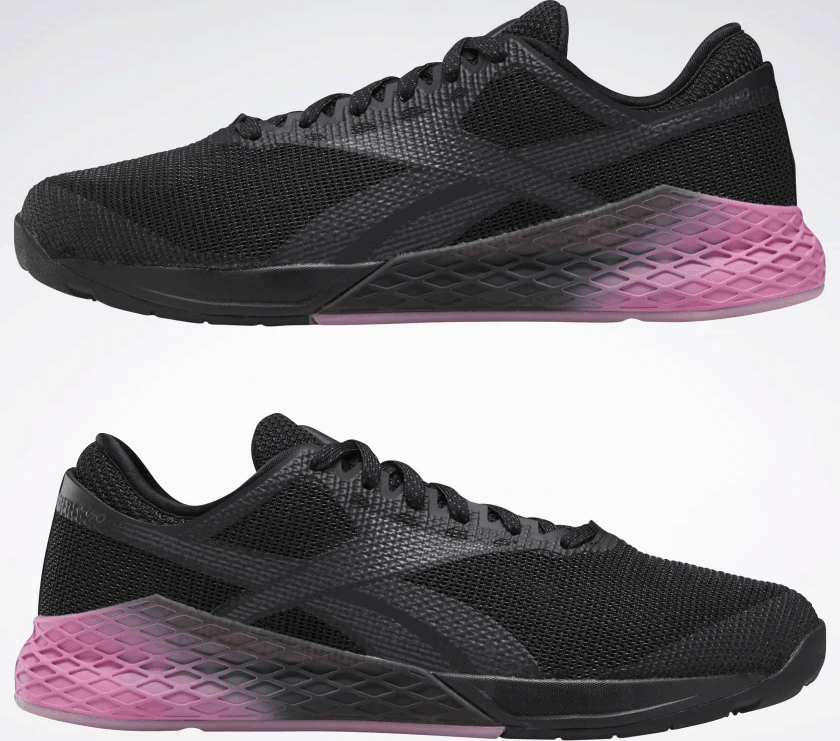 Opposite sides of the Reebok Nano 9 Men's CrossFit Training Shoe in BLACK / COLD GREY 7 / POSH PINK
