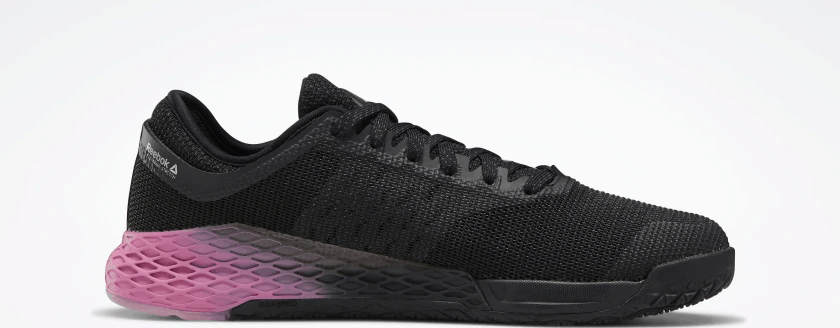 Side profile of the Reebok Nano 9 Men's CrossFit Training Shoe in BLACK / COLD GREY 7 / POSH PINK