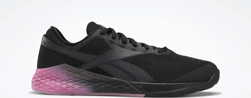Opposite side profile of the Reebok Nano 9 Men's CrossFit Training Shoe in BLACK / COLD GREY 7 / POSH PINK