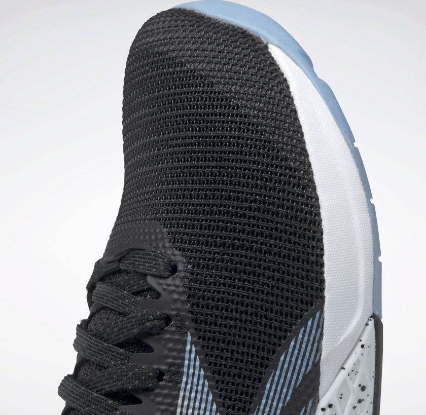 Closeup of the Reebok Nano 9 Women's Training Shoe for CrossFit in Black/Fluid Blue/Lemon Glow