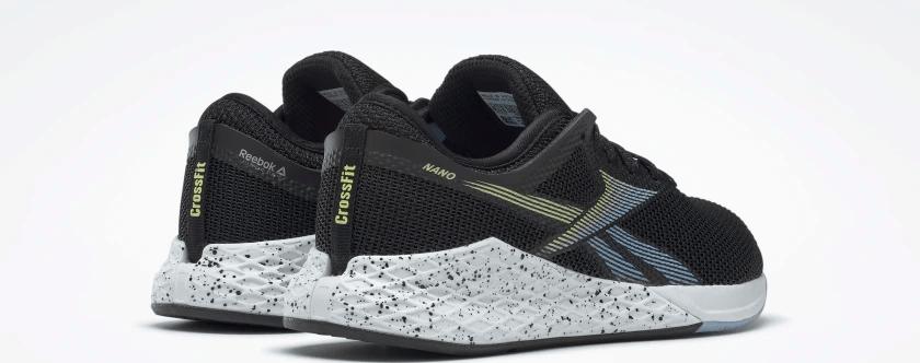 Heel view of the Reebok Nano 9 Women's Training Shoe for CrossFit in Black/Fluid Blue/Lemon Glow