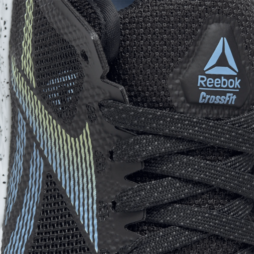 Laces closeup of the Reebok Nano 9 Women's Training Shoe for CrossFit in Black/Fluid Blue/Lemon Glow