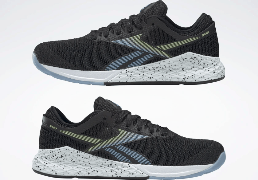Sides of the Reebok Nano 9 Women's Training Shoe for CrossFit in Black/Fluid Blue/Lemon Glow
