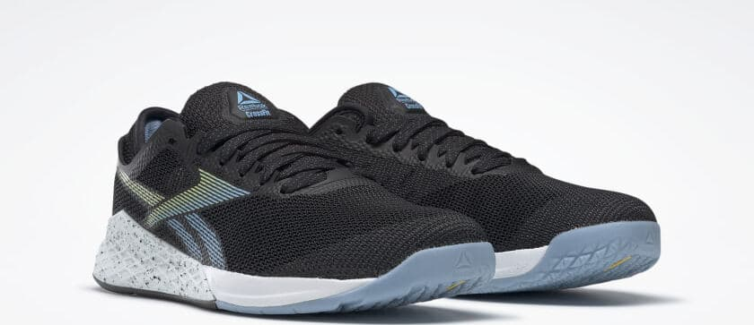 Quarter view of the Reebok Nano 9 Women's Training Shoe for CrossFit in Black/Fluid Blue/Lemon Glow