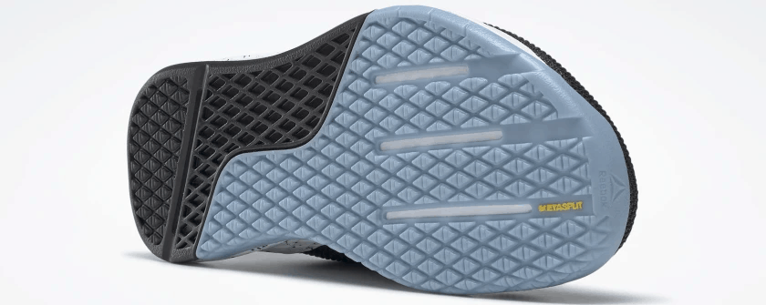 Outsole of the Reebok Nano 9 Women's Training Shoe for CrossFit in Black/Fluid Blue/Lemon Glow