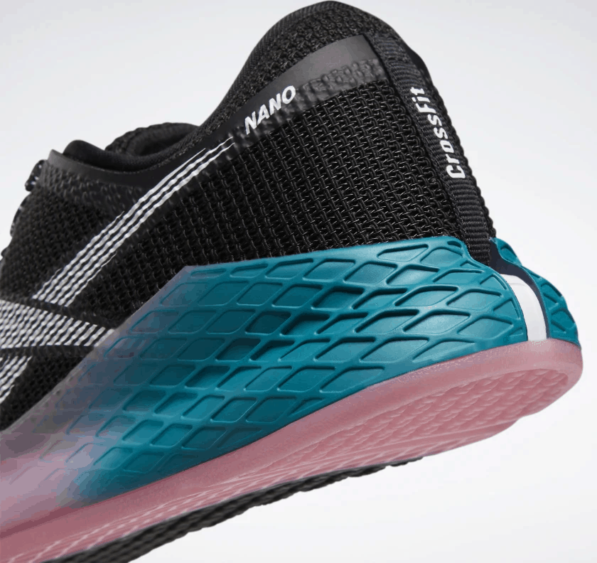 Heel closeup of the Reebok Nano 9 Women's CrossFit Training Shoe in BLACK / SEAPORT TEAL / POSH PINK