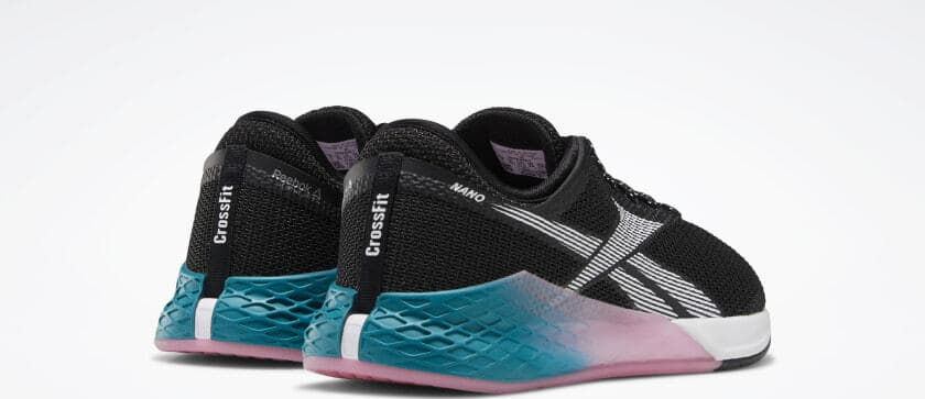 Heel view of the Reebok Nano 9 Women's CrossFit Training Shoe in BLACK / SEAPORT TEAL / POSH PINK