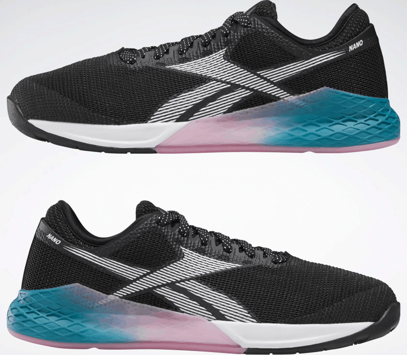 Opposites sides of the Reebok Nano 9 Women's CrossFit Training Shoe in BLACK / SEAPORT TEAL / POSH PINK
