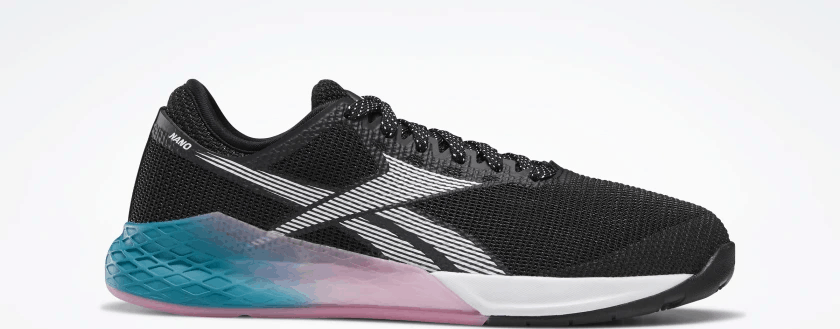 Side profile of the Reebok Nano 9 Women's CrossFit Training Shoe in BLACK / SEAPORT TEAL / POSH PINK