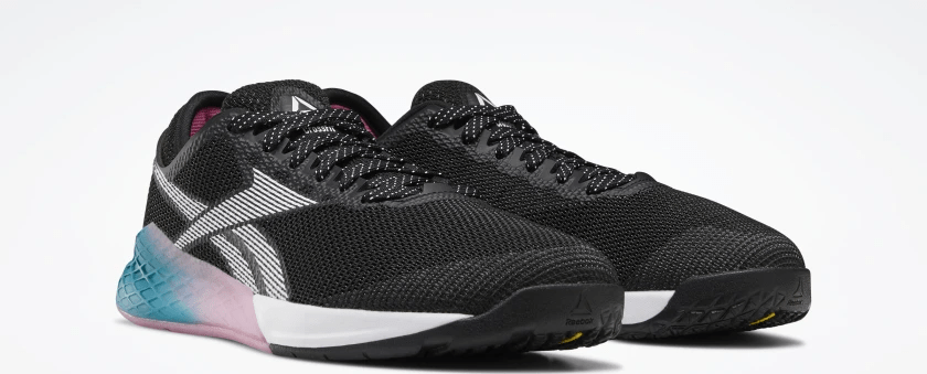 Quarter view of the Reebok Nano 9 Women's CrossFit Training Shoe in BLACK / SEAPORT TEAL / POSH PINK