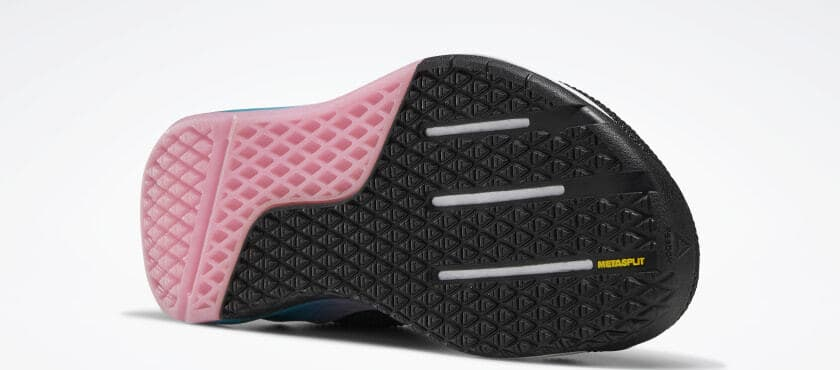 Outsole view of the Reebok Nano 9 Women's CrossFit Training Shoe in BLACK / SEAPORT TEAL / POSH PINK