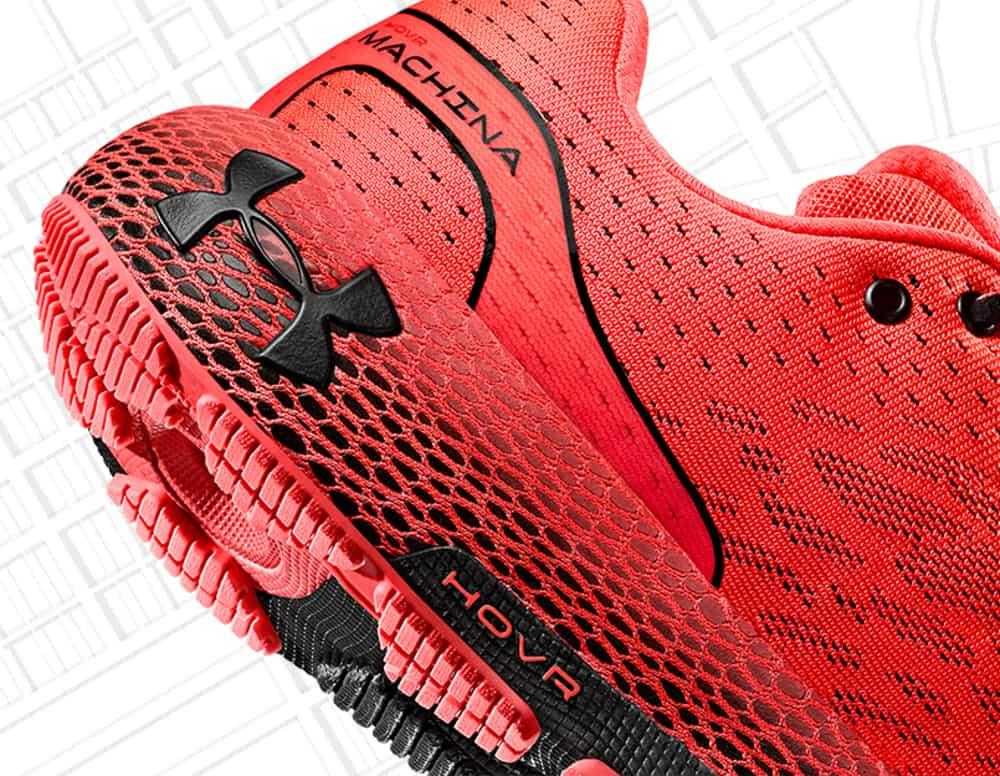Heel closeup of the UA HOVR Machina Running Shoe