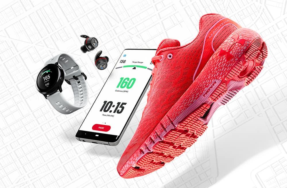 Shoe, watch, phone with the UA HOVR Machina Running Shoe