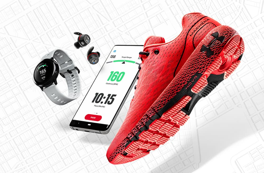 Shoe and watch and phone of the UA HOVR Machina Running Shoe