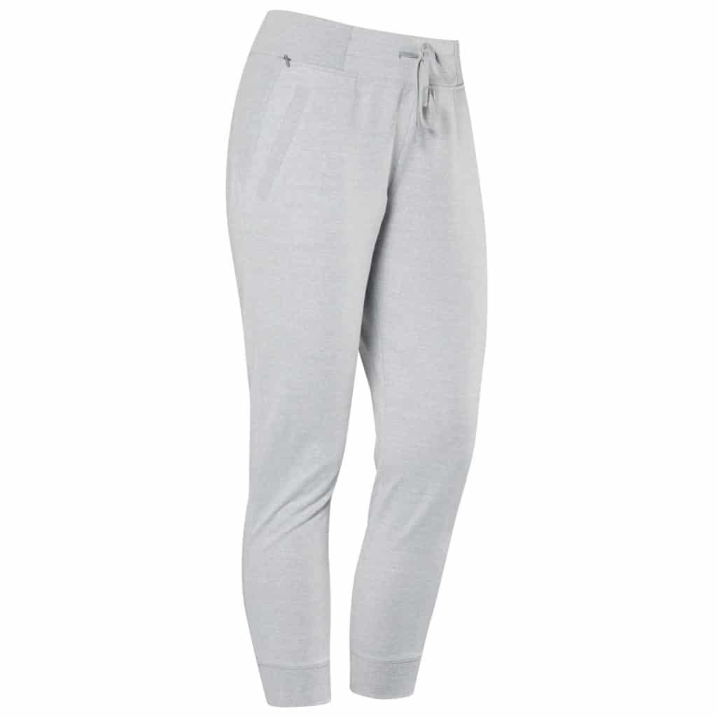 Front view of the Hylete Nova Jogger Sweatpants for Women - Heather Gray