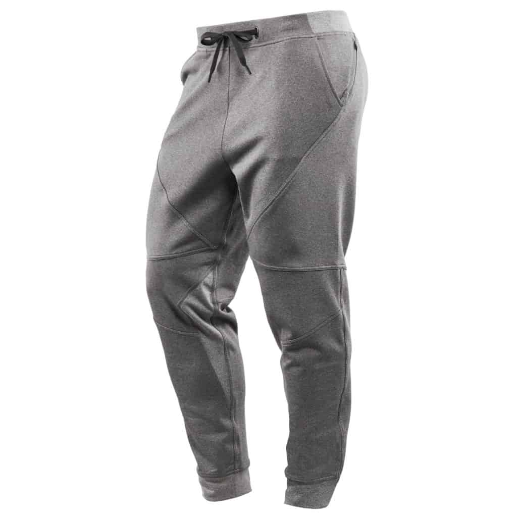 Front view of the Hylete flexion workout pants for men - Heather Slate/Heather Gray