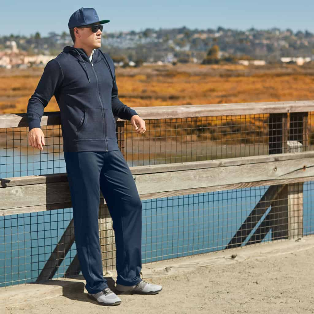 Standing around in the Hylete Helix II workout pants for men  Black