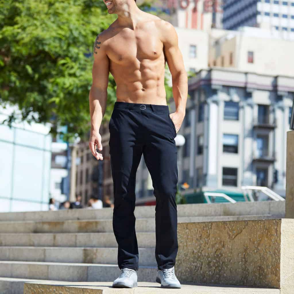 In the park closeup of Hylete Ion Pant - CrossFit Workout Pants for Men - in Black