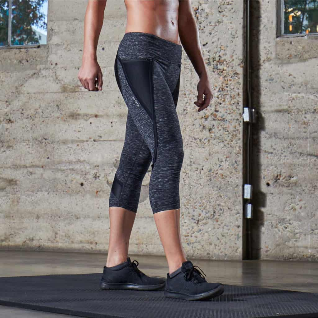 Nimbus Capri Tights from Hylete - Great for CrossFit - Heather Black/Black in the gym