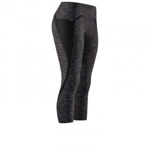 Front view of the Nimbus Capri Tights from Hylete - Great for CrossFit - Heather Black/Black