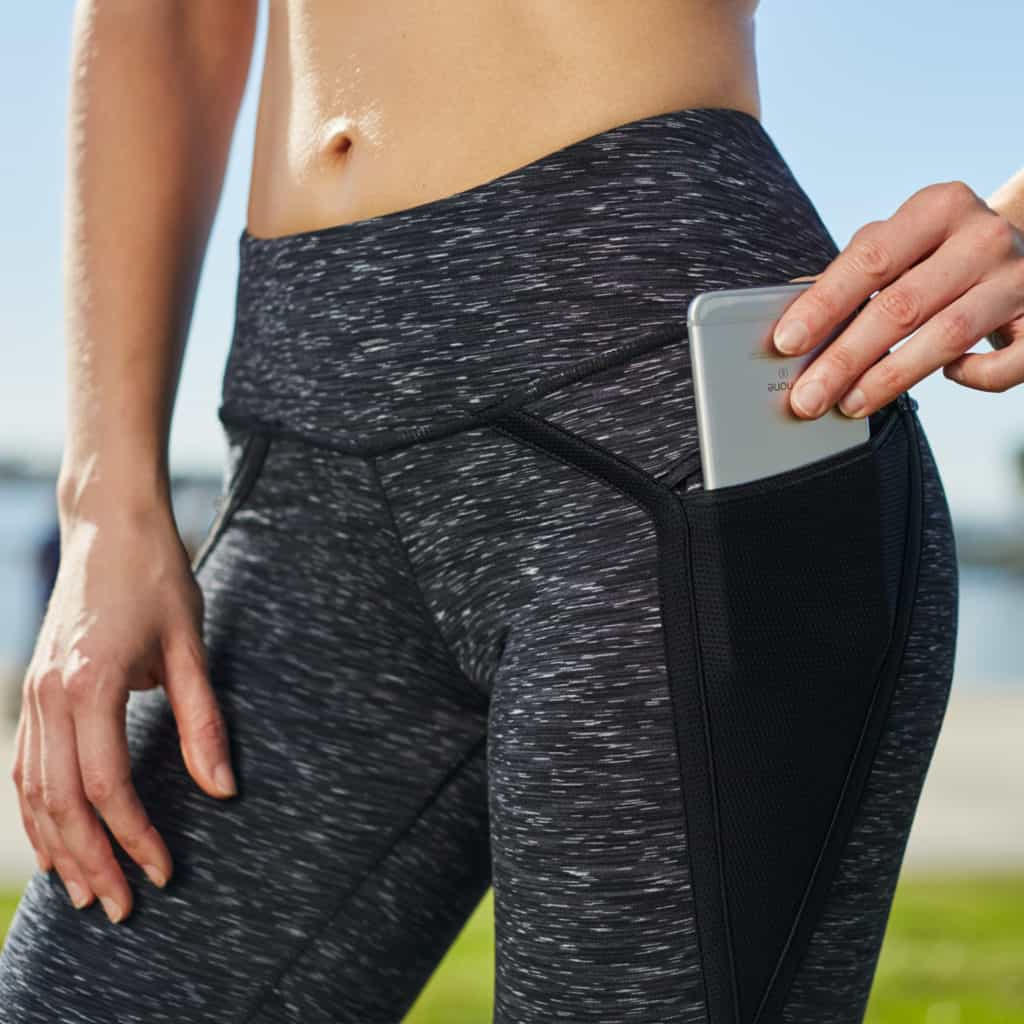Pockets of the Nimbus Capri Tights from Hylete - Great for CrossFit - Heather Black/Black