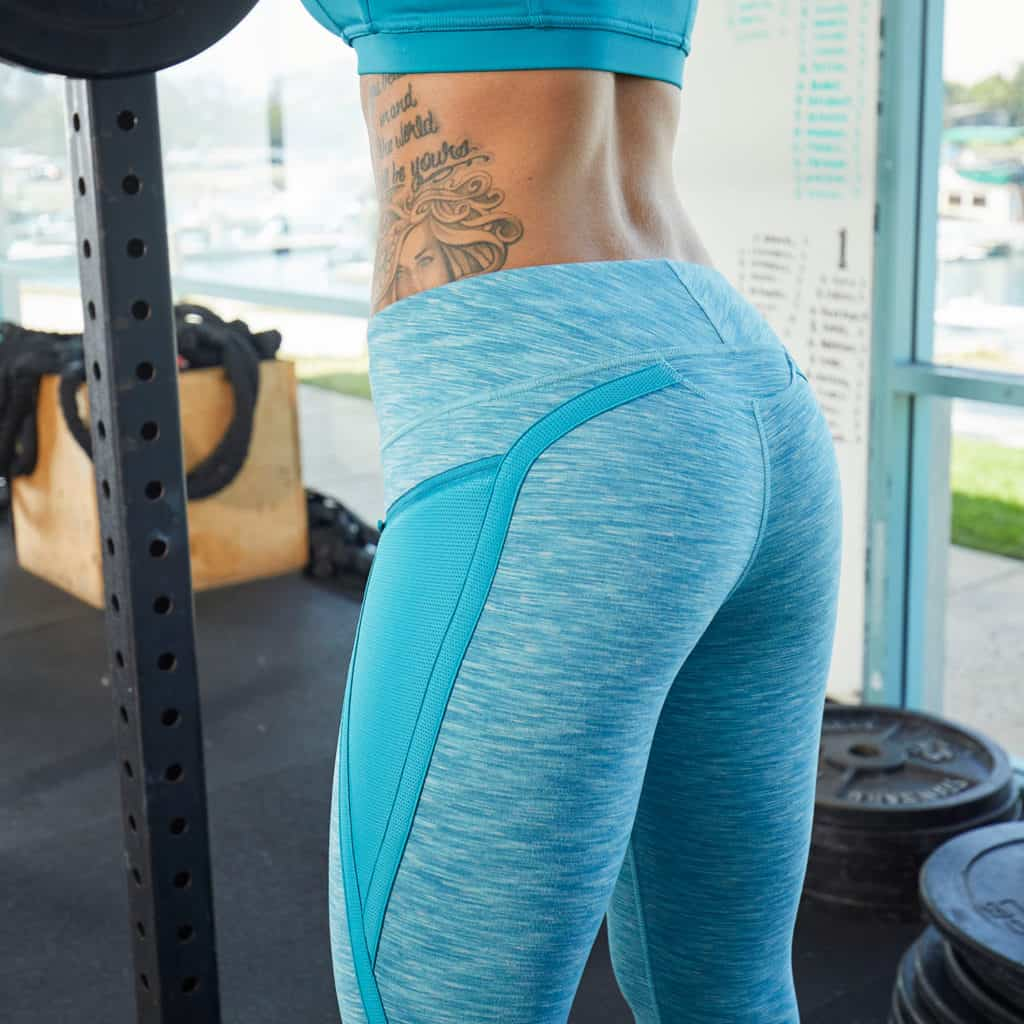 Flattering lines with the Hylete Nimbus Capri Workout Leggings for Women - Heather Lagoon/Lagoon