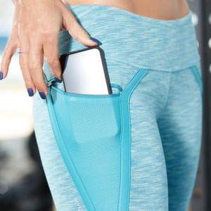 Pocket closeup of the Hylete Nimbus Capri Workout Leggings for Women - Heather Lagoon/Lagoon