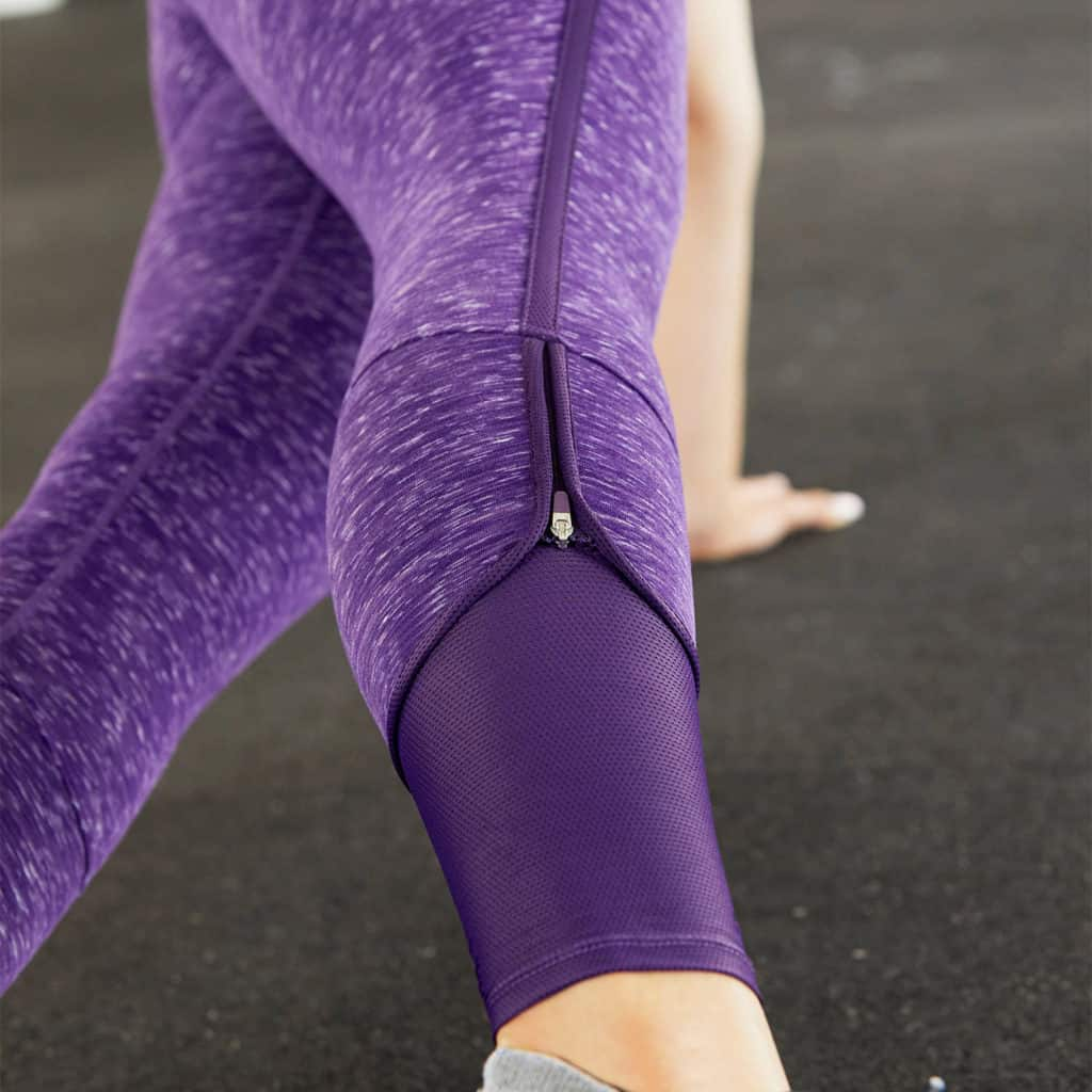 Mesh cuff of the Nimbus Caprite Yoga Pants for the Gym - Heather Eggplant