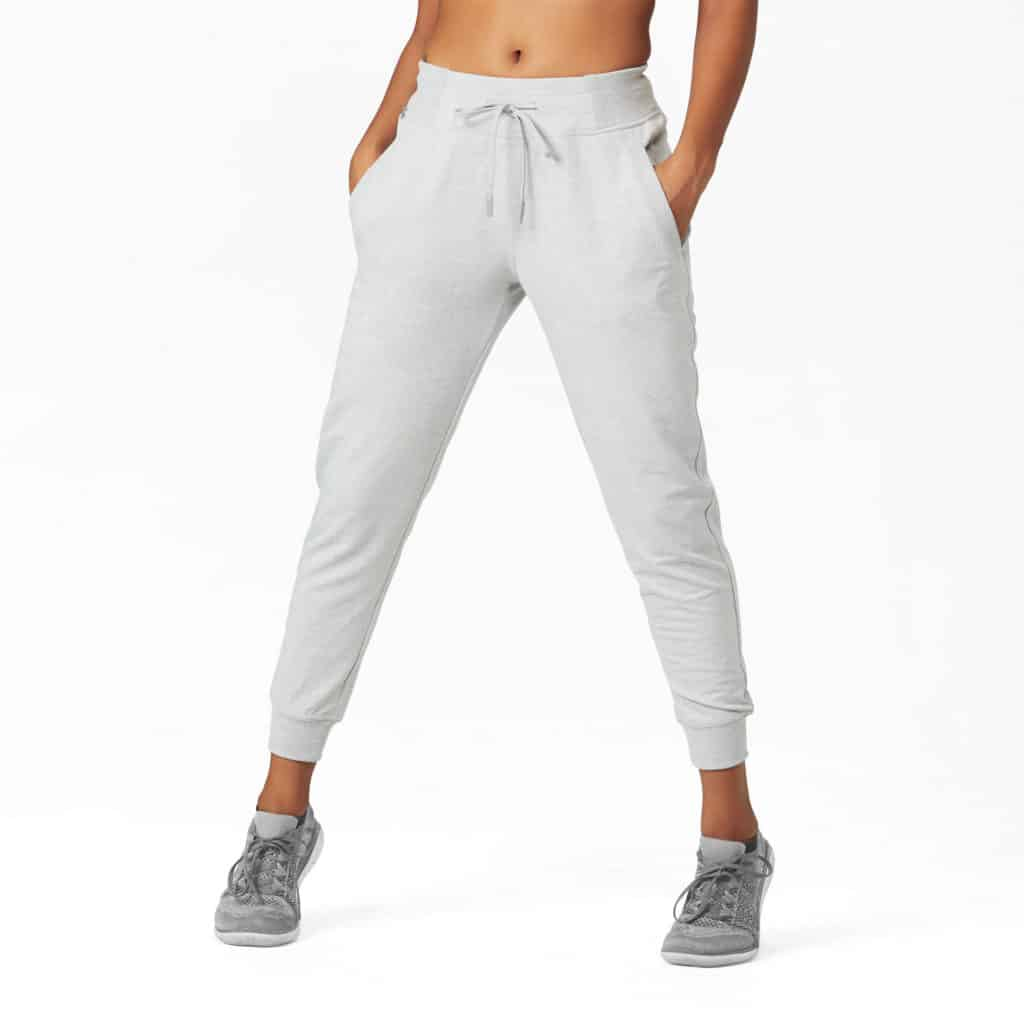 As worn Hylete Nova Jogger Sweatpants for Women - Heather Gray