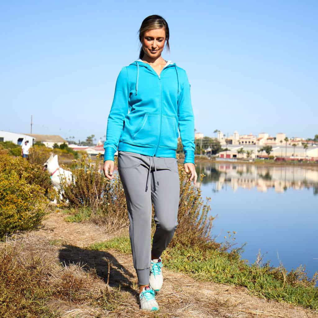 By the lake in Hylete Urban Jogger Workout Sweatpants for Women in Cool Gray