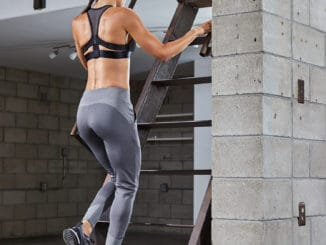Upstairs in the gym with Hylete Flexion Workout Pants for Women - Heather Slate