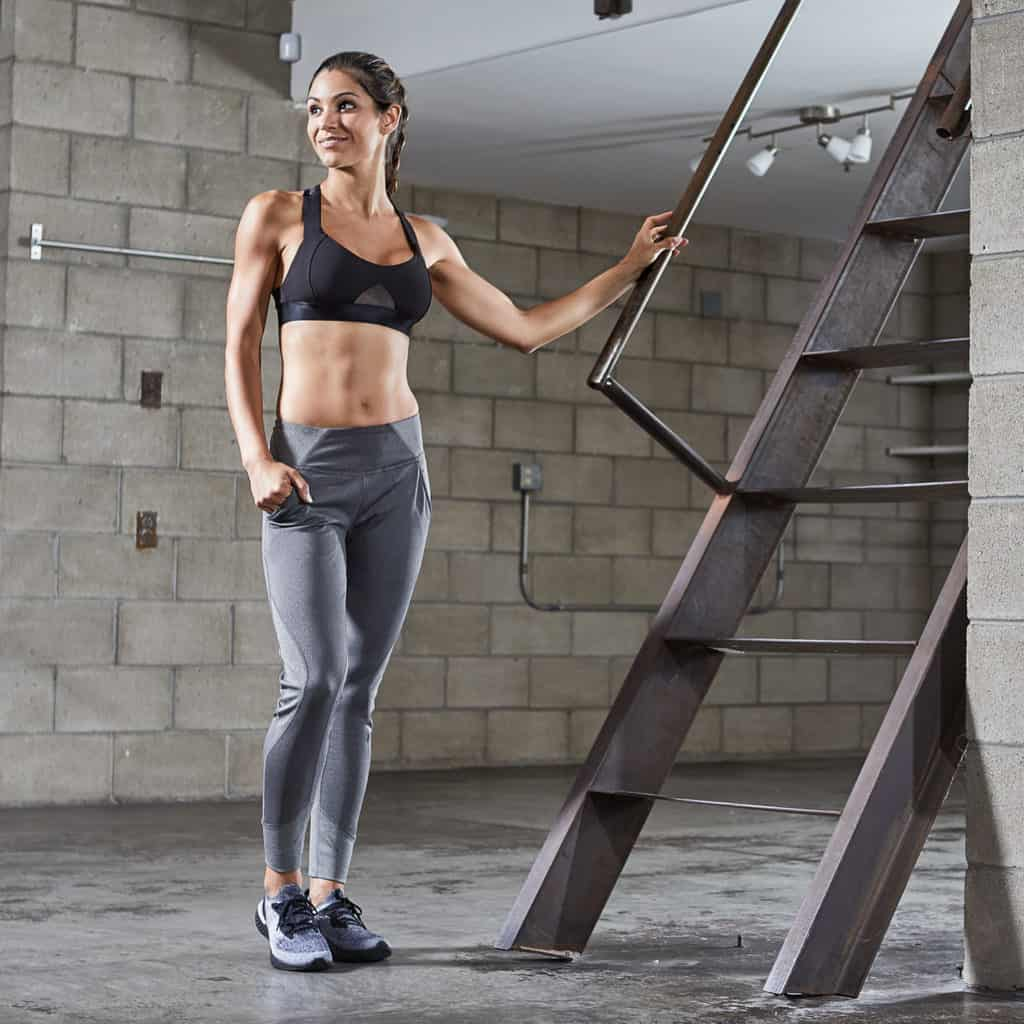 In the gym with Hylete Flexion Workout Pants for Women - Heather Slate