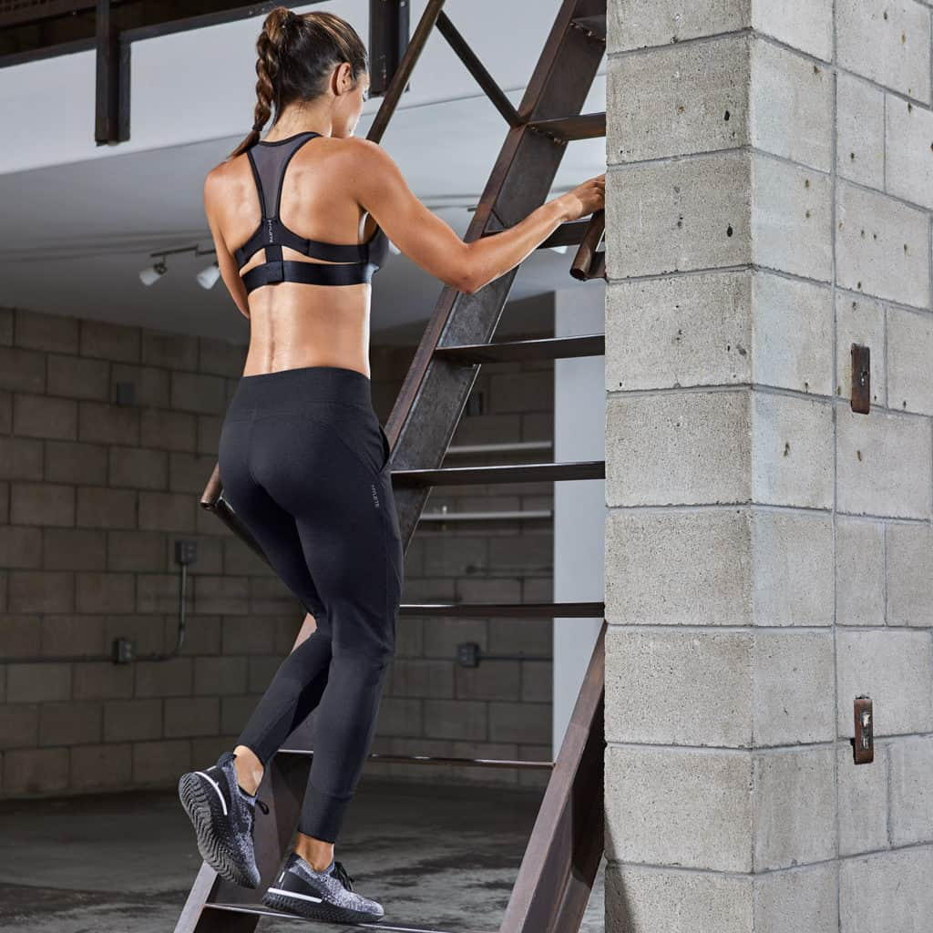 Upstairs in the Hylete Flexion Pants - Workout Pants for Women in Black