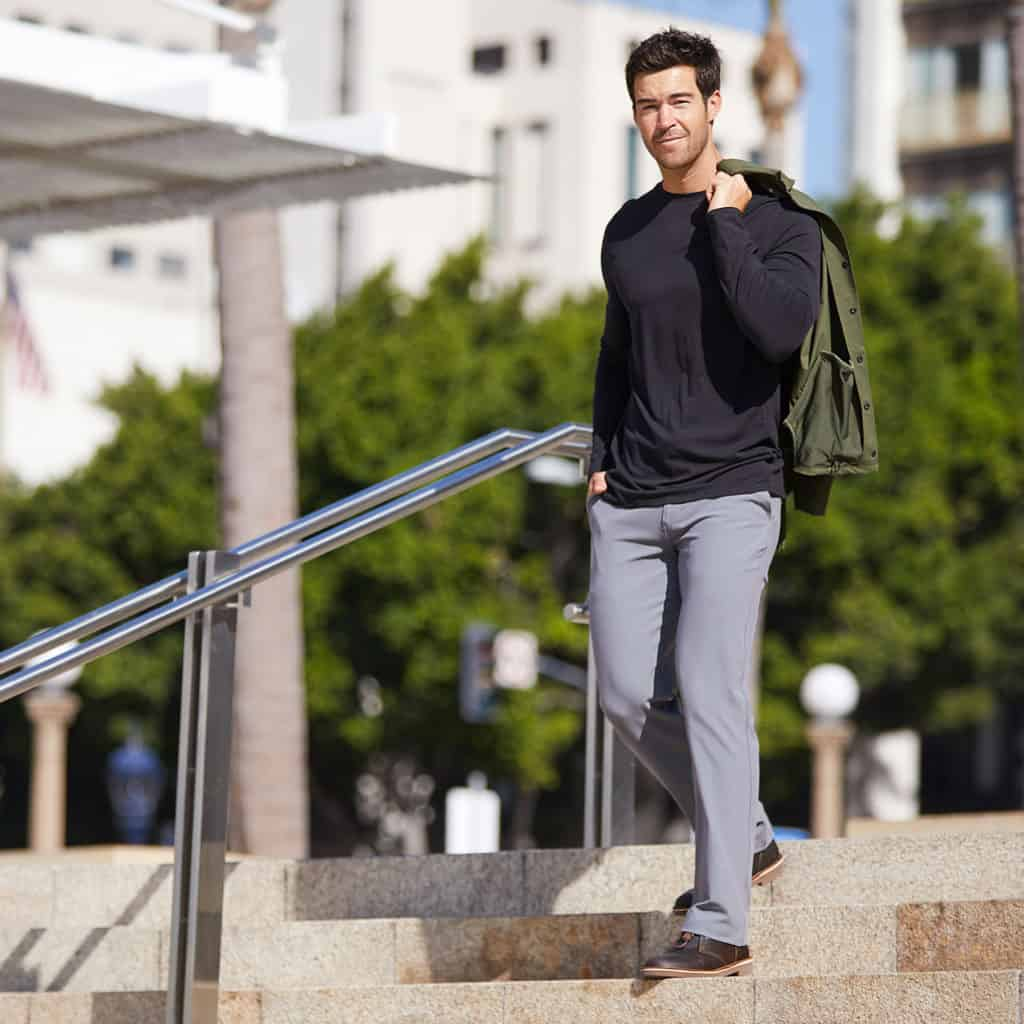 Casual wear of the Modus Walk Pant from Hylete in Cool Gray