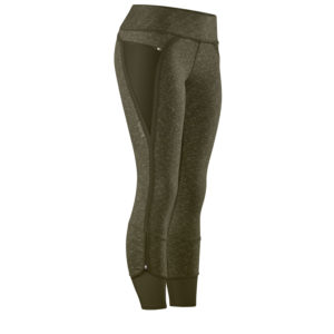 Front view of the Nimbus Caprite yoga pants in heather olive/olive