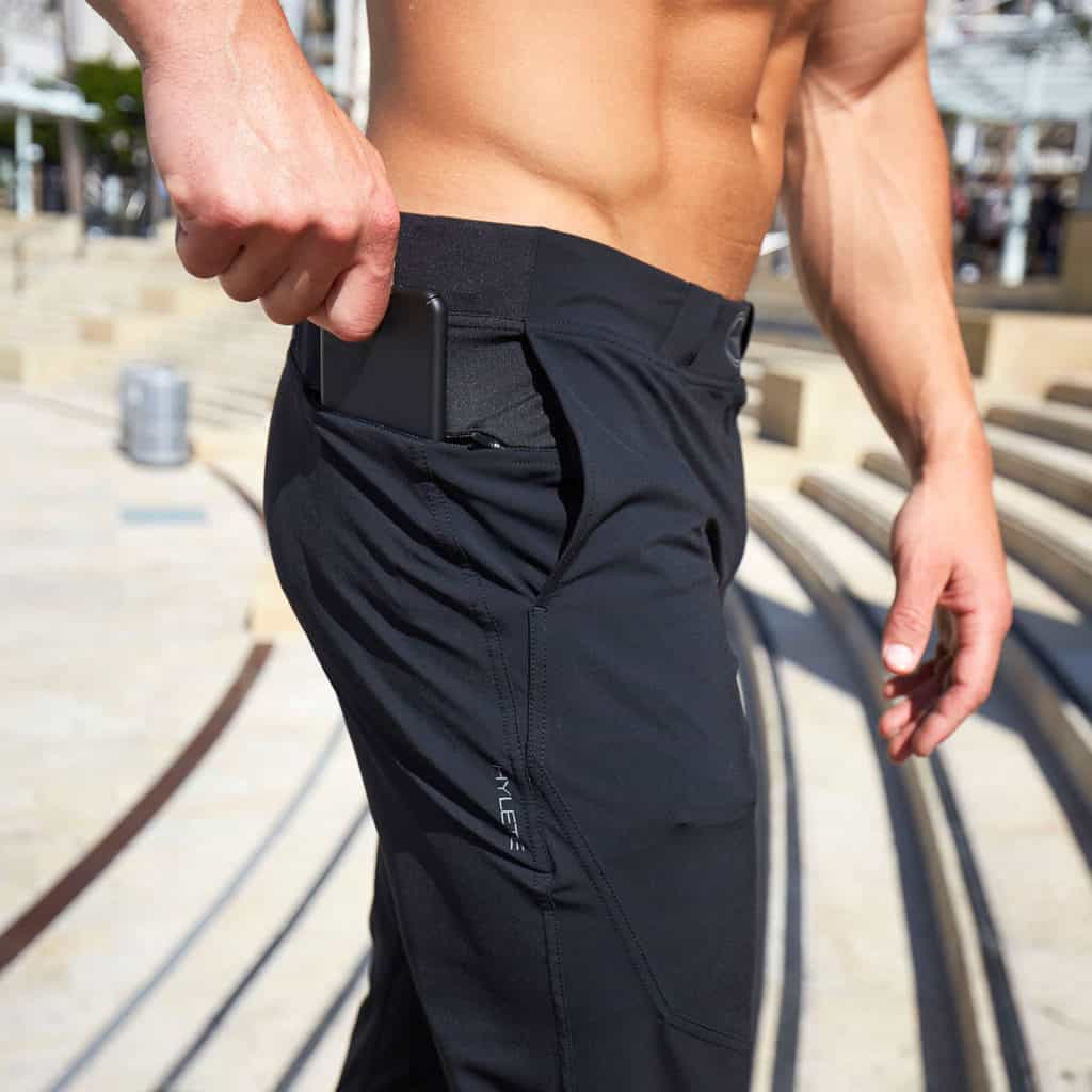 Zipper pocket of Hylete Ion Pant - CrossFit Workout Pants for Men - in Black