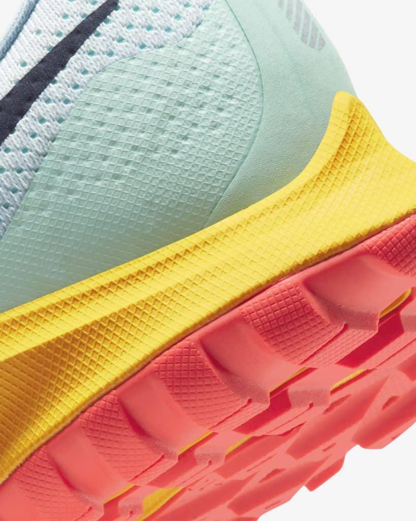 Sole closeup of the Nike Air Zoom Pegasus 36 Trail Running Shoe in Aura/Light Armory Blue/Mint Foam/Blackened Blue