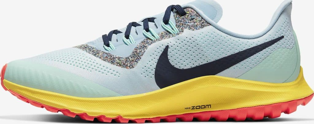 Side view of the Nike Air Zoom Pegasus 36 Trail Running Shoe in Aura/Light Armory Blue/Mint Foam/Blackened Blue