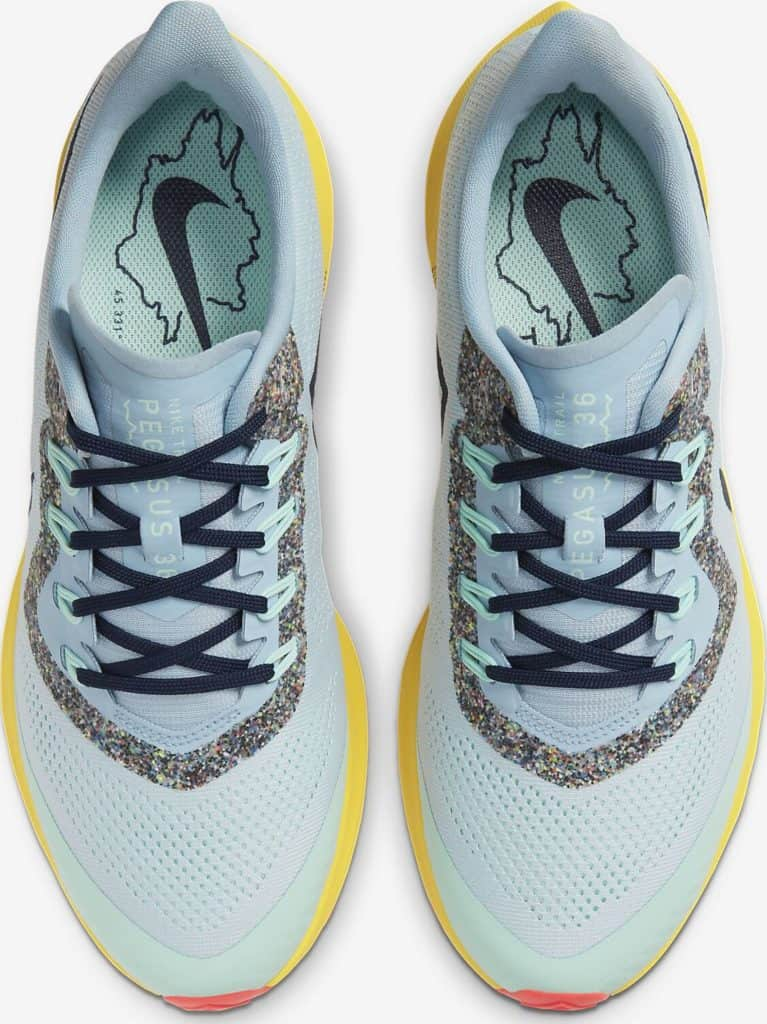 Top view of the Nike Air Zoom Pegasus 36 Trail Running Shoe in Aura/Light Armory Blue/Mint Foam/Blackened Blue