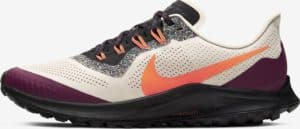 Side view of the Nike Air Zoom Pegasus 36 Trail Running Shoe in Light Orewood Brown/Black/Villain Red/Hyper Crimson