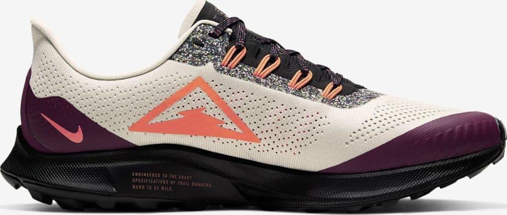 Side view of the Nike Air Zoom Pegasus 36 Trail Running Shoe in Light Orewood Brown/Black/Villain Red/Hyper Crimson