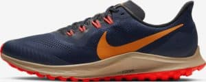 Side view of the Nike Air Zoom Pegasus 36 Trail - Obsidian-Black-Laser Crimson-Magma Orange